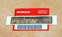 Label Aufkleber Emblem Sticker Reifen tire caution mark Honda Monkey Z 50 Z50 J